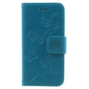 Imprint Butterfly and Flower PU Leather Shell Case with Stand for iphone 5 / 5s / SE - Blue