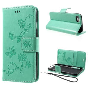 Imprint Butterfly Flower Magnetic Wallet PU Leather Stand Cover for iPhone 8 / 7 4.7 inch - Cyan