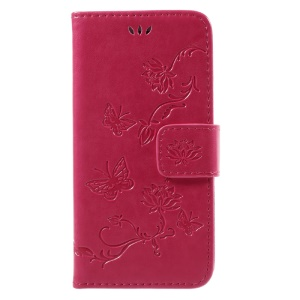 Imprint Butterfly Flower Magnetic Wallet PU Leather Stand Casing for iPhone 8 / 7 4.7 inch - Rose