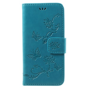 Imprint Butterfly Flower Magnetic Wallet PU Leather Stand Cell Phone Case for iPhone 8 / 7 4.7 inch - Blue