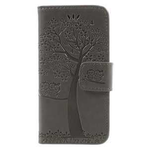 Imprint Tree Owl Magnetic Wallet PU Leather Stand Shell for iPhone 5 / 5s / SE - Grey