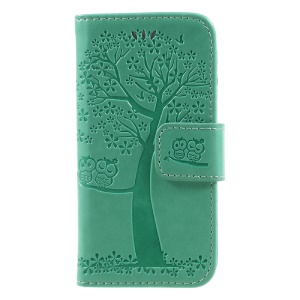 Imprint Tree Owl Magnetic Wallet PU Leather Stand Cell Phone Cover for iPhone 5 / 5s / SE - Cyan