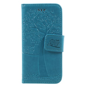 Imprint Tree Owl Magnetic Wallet PU Leather Cover with Stand for iPhone 5 / 5s / SE - Blue