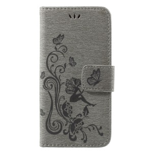 Imprint Fairy Butterfly and Flower Leather Phone Shell with Card Slots for iPhone 8 Plus / 7 Plus 5.5 inch - Grey