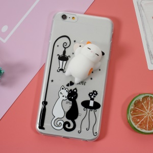 Squishy 3D Silicone Cat TPU Case Cover for iPhone 6s Plus / 6 Plus - White and Black Cat