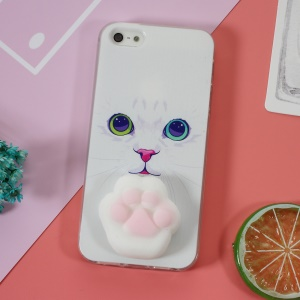 Squishy 3D Silicone Kneading Cat Paw TPU Gel Case for iPhone SE/5s/5 - Cat Pattern