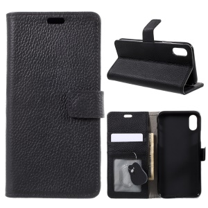 Litchi Grain Genuine Leather Mobile Phone Case with Card Slots for iPhone 8 - Black