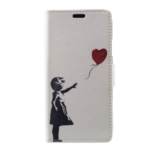 Pattern Printing Wallet Stand Flip Leather Case for iPhone X/XS 5.8inch - Girl Releasing Heart