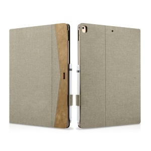 XOOMZ Cloth Texture PU Leather Flip Smart Tablet Cover Case for iPad Pro 12.9 - Khaki