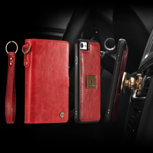 CASEME Qin Series Detachable 2-in-1 Split Leather Card Holder Cell Phone Cover for iPhone SE (2nd generation)/8/7 4.7 inch - Red