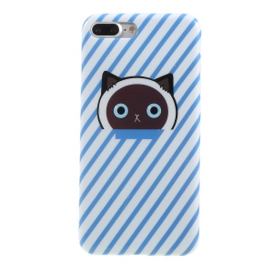 Pattern Printing TPU Shell Cover Case for iPhone 8 Plus / 7 Plus 5.5 inch - Blue Cat Paw and Stripes