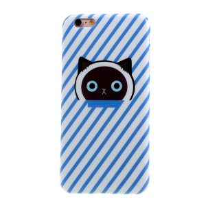 Pattern Printing TPU Case for iPhone 6s Plus / 6 Plus - Blue Cat Paw and Stripes