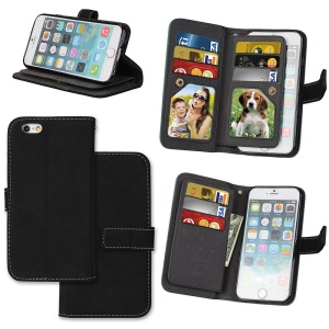 PU Leather Frosted Stand Mobile Phone Casing with 9 Card Holders for iPhone 6s 6 - Black