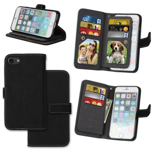 PU Leather Frosted Stand Mobile Phone Casing with 9 Card Holders for iPhone SE (2nd generation)/8/7 4.7 inch - Black