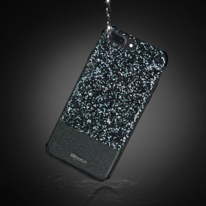 DZGOGO Bling Bling Series PU Leather Coated Bling Sequins PC + TPU Combo Case for iPhone 7 Plus - Black
