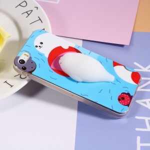 3D Squishy Silicone Cartoon IMD TPU Finger Pinch Case for iPhone SE 5s 5 - Sea Lion in the Water