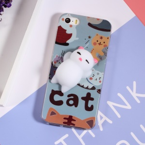 3D Squeeze Silicone Cartoon IMD TPU Kneading Squishy Case for iPhone SE 5s 5 - Cute Cats