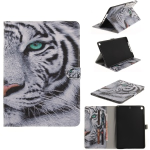Pattern Printing Wallet Leather Smart Case for iPad 9.7 (2017) - Tiger