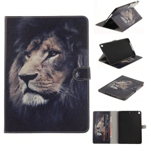 Patterned Wallet Smart Leather Folio Cover Case for iPad 9.7 (2017) - Lion