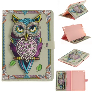 Auto-Wake / Sleep Pattern Printing Leather Wallet Tablet Cover for iPad 9.7 (2017) - Colorized Owl