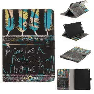 Patterned Auto-Wake / Sleep Leather Protective Tablet Cover for iPad 9.7 (2017) - Feather Pen