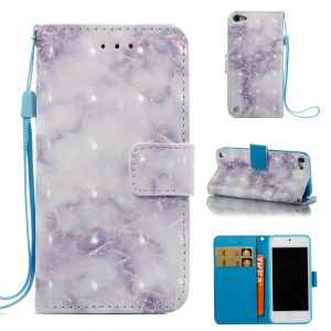 For iPod Touch 6 / Touch 5 Marble Pattern PU Leather Flip Case with Strap - Blue