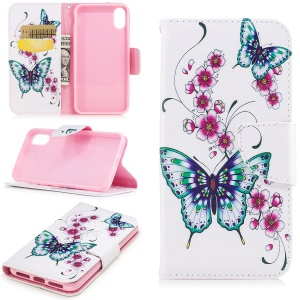 Pattern Printing Protective Leather Wallet Case for iPhone X/XS 5.8-inch - Green Butterfly and Flower Pattern