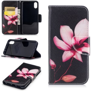 Pattern Printing Magnetic Leather Wallet Flip Case with Stand for iPhone X/XS 5.8-inch - Flower Pattern