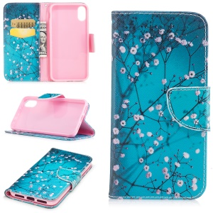 Pattern Printing Wallet Leather Stand Case for iPhone 8 - Tree with Flowers