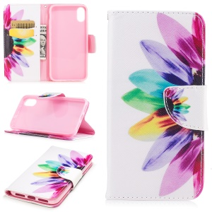 Pattern Printing Leather Card Holder Case for iPhone 8 - Petals Pattern