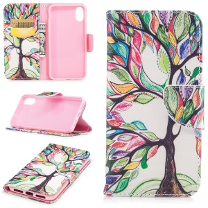 Pattern Printing Wallet Leather Phone Protective Cover for iPhone 8 - Colorized Tree