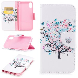 Pattern Printing Wallet Flip Leather Cell Phone Cover Case for iPhone 8 - Flowered Tree