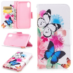 Pattern Printing Wallet Leather Phone Protective Case Accessory for iPhone 8 - Butterfly and Flowers