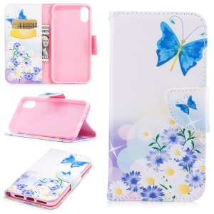 Pattern Printing Wallet Leather Protective Cover for iPhone 8 - Blue Butterfly