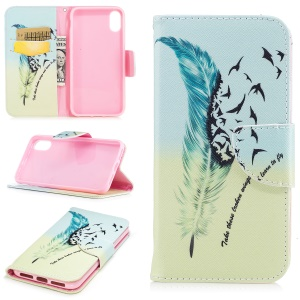 Pattern Printing Wallet Leather Stand Casing for iPhone 8 - Feather Pattern