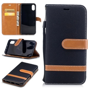 For iPhone X/XS 5.8-inch Two-tone Jean Cloth Leather Wallet Phone Protective Casing with Stand - Black