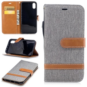 For iPhone X/XS 5.8-inch Two-tone Jean Cloth Leather Wallet Phone Accessory Protective Casing with Stand - Grey