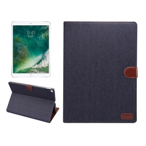 Smart Jeans Texture Leather Wallet Stand Flip Case for iPad Pro 12.9 Inch - Black