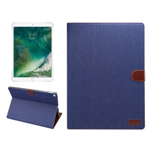 Jeans Texture Smart Leather Wallet Foldable Case Accessory for iPad Pro 12.9 Inch - Dark Blue