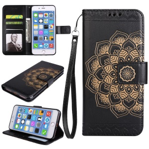 Imprint Henna Lotus Stand Leather Wallet Case for iPhone 7 Plus with Lanyard - Black