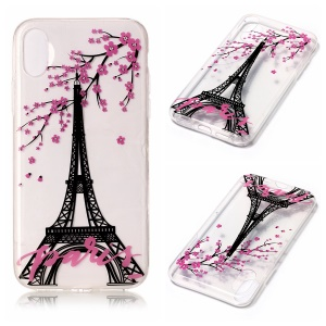 Clear IMD TPU Gel Back Case for iPhone8 - Eiffel Tower and Plum Flowers