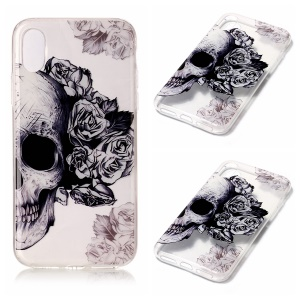 Lightweight IMD TPU Gel Case Accessory for iPhone8 - Skull and Rose