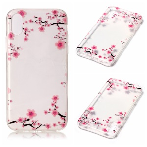 For iPhone8 Clear IMD TPU Gel Protective Cover - Peach Blossoms