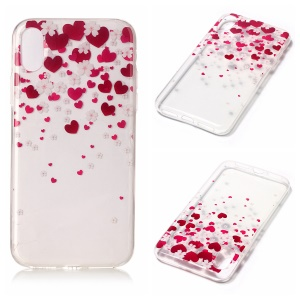 For iPhone8 Clear IMD TPU Soft Phone Casing - Hearts and Flowers