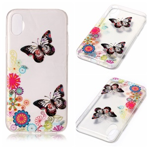 Transparent IMD TPU Gel Back Cover for iPhone8 - Butterflies and Floral Patterns