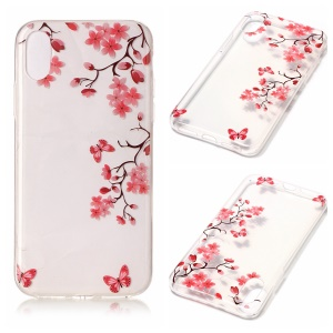 For iPhone8 Clear IMD TPU Gel Shell Case - Red Butterflies and Flowers