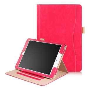 Smart PU Leather Stand Tablet Shell with Card Cash Compartment for iPad 9.7 (2017) / Air 2 / Air - Red