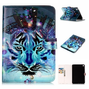 Pattern Printing Embossed Leather Protective Phone Case for iPad mini 4 - Tiger