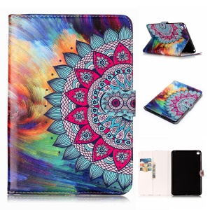 Pattern Printing Embossed Leather Protective Phone Case for iPad mini 4 - Flower