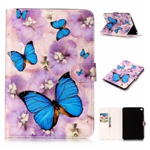 Pattern Printing Embossed Leather Protective Phone Case for iPad mini 4 - Butterfly